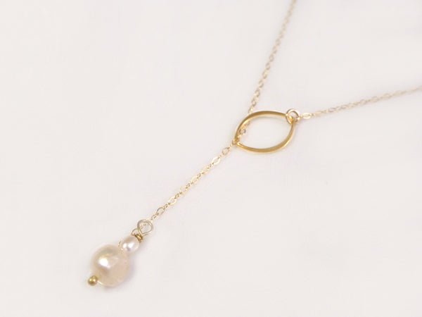 Dainty Freshwater Pearl Necklace - Pearl Lariat Necklace