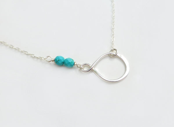 Silver Turquoise Necklace - Gold Beaded Infinity Necklace