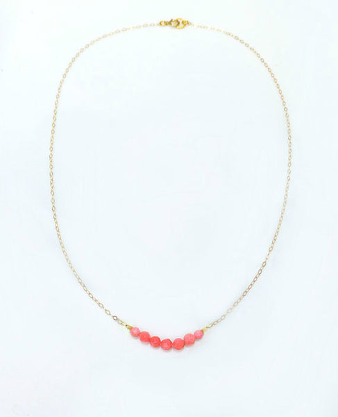 Tiny Pink Coral Necklace - Small Beaded Coral Necklace