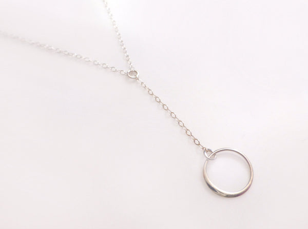 Infinity Lariat Y Necklace - Long Silver Circle Lariat necklace