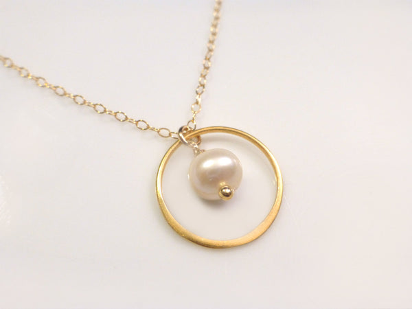 Gold Circle Necklace With Freshwater Pearl Dangle