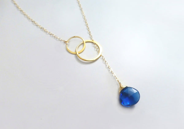 Blue Quartz Gemstone Lariat Necklace For Women - Sterling Silver or Gold