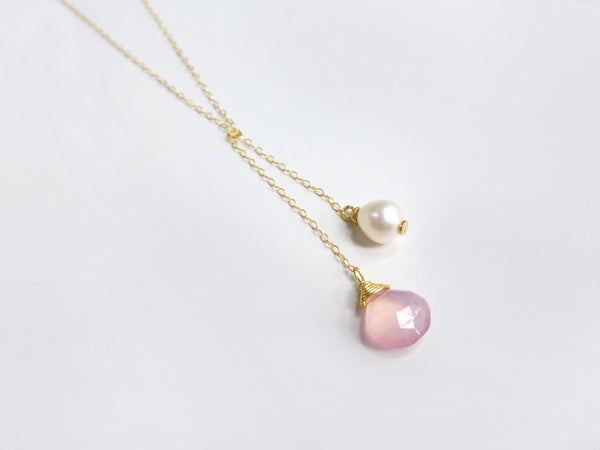 Pink Gemstone Lariat Necklace - Knotted Pearl Chalcedony Y Necklace