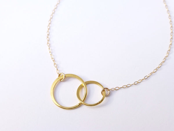 Infinity Necklace - Interlocking Hoop Necklace - Gold, Silver, Rose Gold