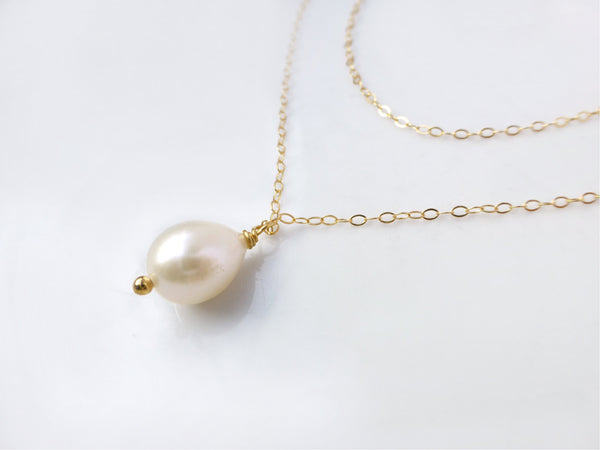 Multi Strand Pearl Necklace - Layered Pearl Teardrop Necklace