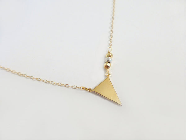 Gold Chevron Necklace -Modern Geometric Triangle Necklace