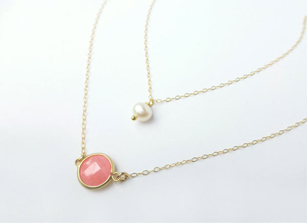 Coral and Pearl Multi Strand Necklace For Women - Gold or Sterling Silver