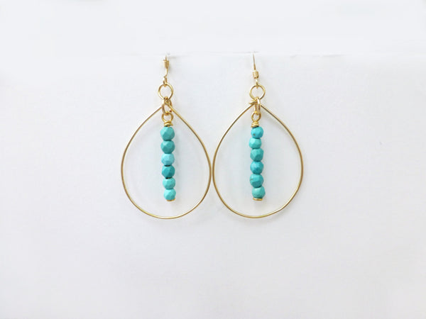 Gold Turquoise Hoop Earrings For Women - Available in multiple sizes and in Sterling Silver