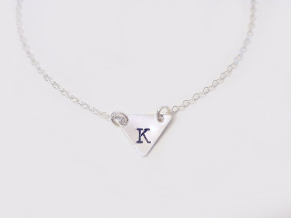 Triangle Necklace- Chevron Initial Necklace - Gold or Silver
