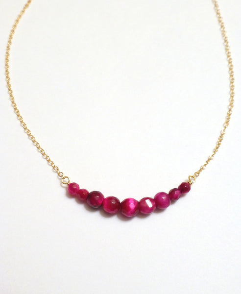 Tigers Eye Necklace - Burgundy Beaded Necklace