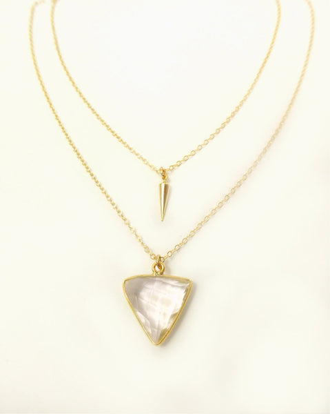 Gold Triangle Multi Strand Necklace - Crystal Quartz Modern Statement Necklace