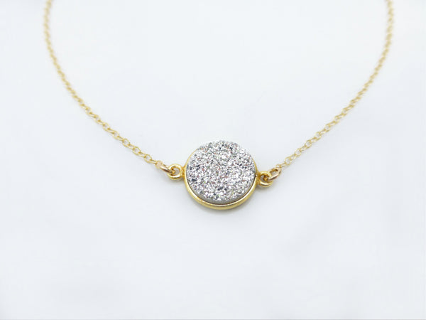 Druzy Pendant Necklace - Gold and Silver Druzy Necklace