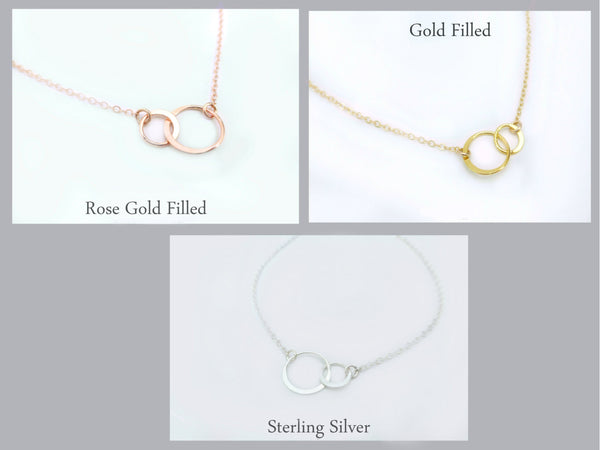 Rose Gold Infinity Necklace - Interlocking Circle Necklace - Rose Gold, Gold or Silver