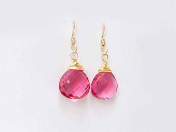 Pink Quartz Teardrop Earrings - Pink Gemstone Dangle Earrings