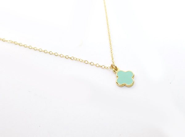 Tiny Mint Charm Necklace - Delicate Layering Necklace