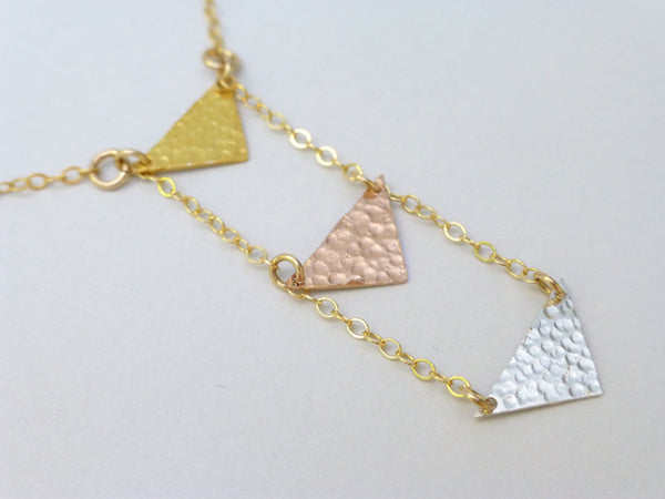 Triple Chevron Necklace In Mixed Metals, Hammered Geometric Necklace - Gold, Rose Gold, Sterling Silver
