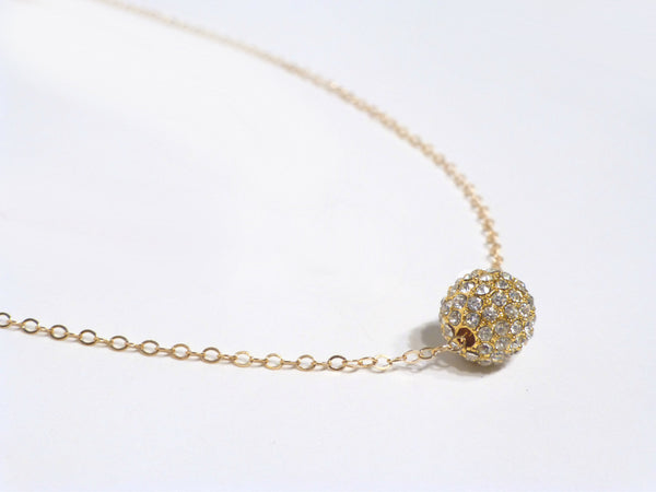 Pave Dainty Disco Ball Necklace For Women - Gold, Rose Gold or Sterling Silver