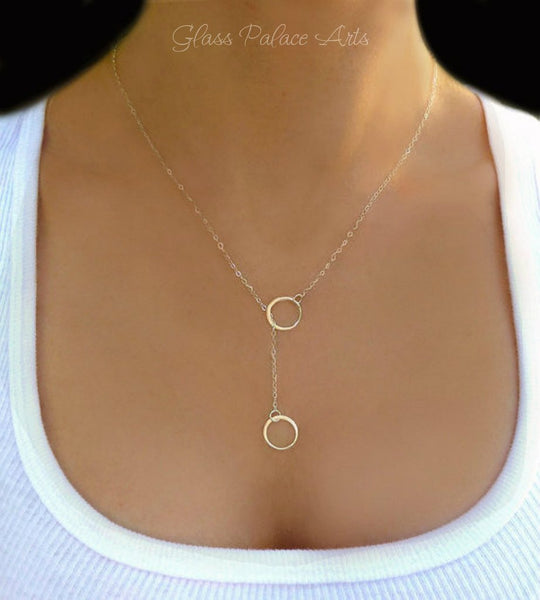 Rose Gold Lariat Necklace - Simple Rose Y Necklace