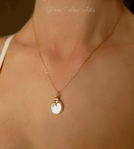 Pearl Starfish Necklace -  Gold Beach Starfish Necklace