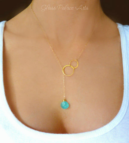 Infinity Lariat Necklace With Aqua Chalcedony Teardrop - In Shiny Sterling Silver or Gold