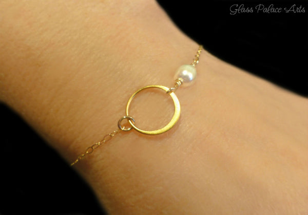 Infinity Bracelet with Pearl - Pearl Circle Bracelet