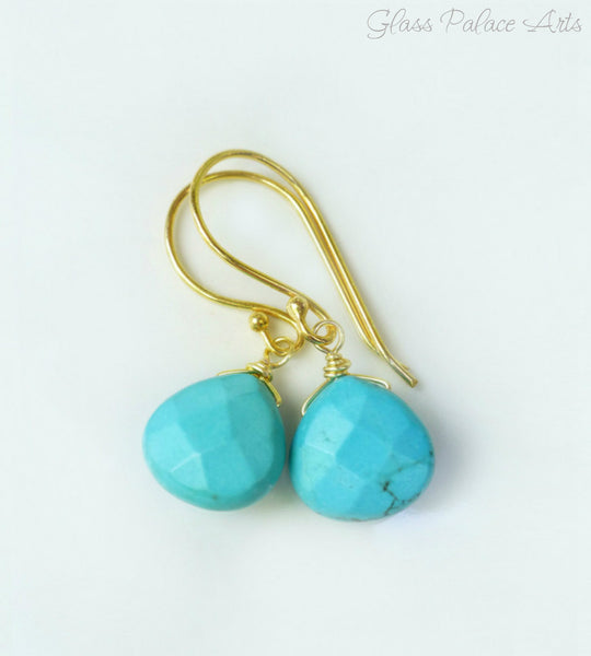 Turquoise Teardrop Earrings - Turquoise Dangle Earrings in Gold or Silver