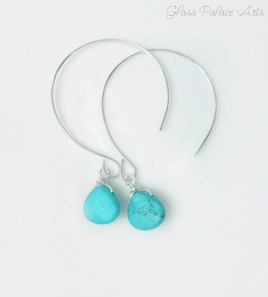 Turquoise Hoop Earrings - Turquoise Drop Earrings