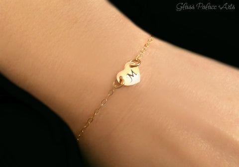Personalized Heart Bracelet - With Tiny Stamped Heart