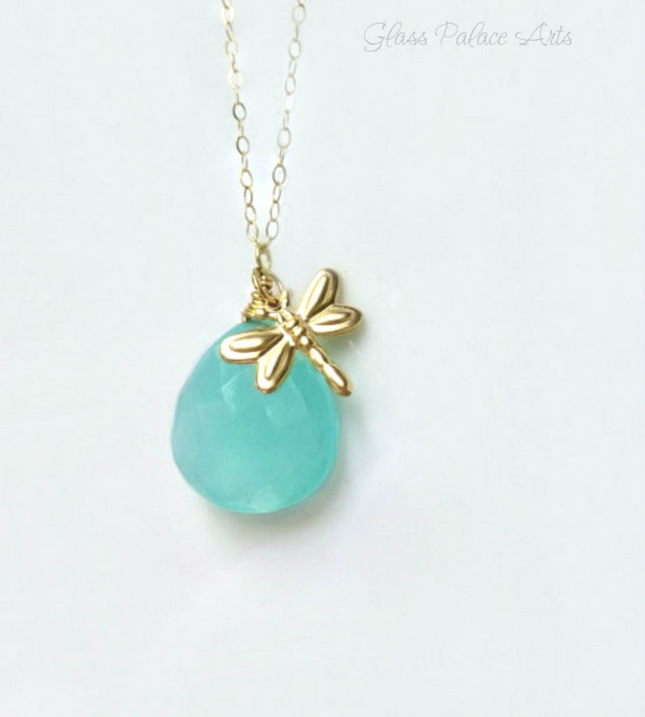 Gold Dragonfly Necklace With Aqua Chalcedony