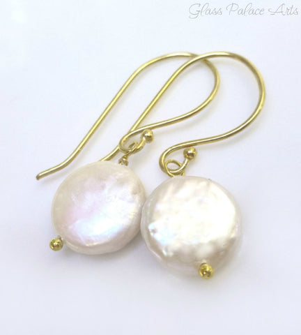Freshwater Coin Pearl Earrings - Sterling Silver or 14k Gold Fill