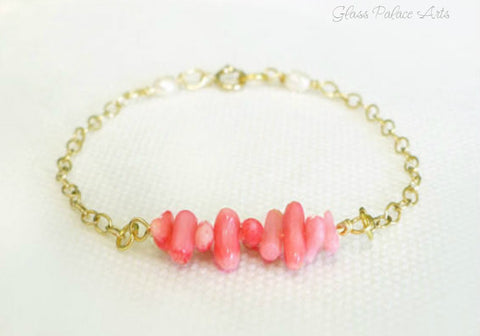 Beaded Pink Coral Bracelet For Women - Sterling Silver or 14k Gold Fill