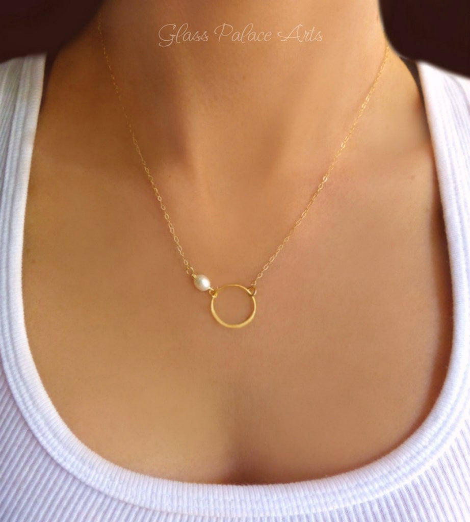 Gold Infinity Necklace With Freshwater Pearl - Sterling Silver, Gold or Rose Gold