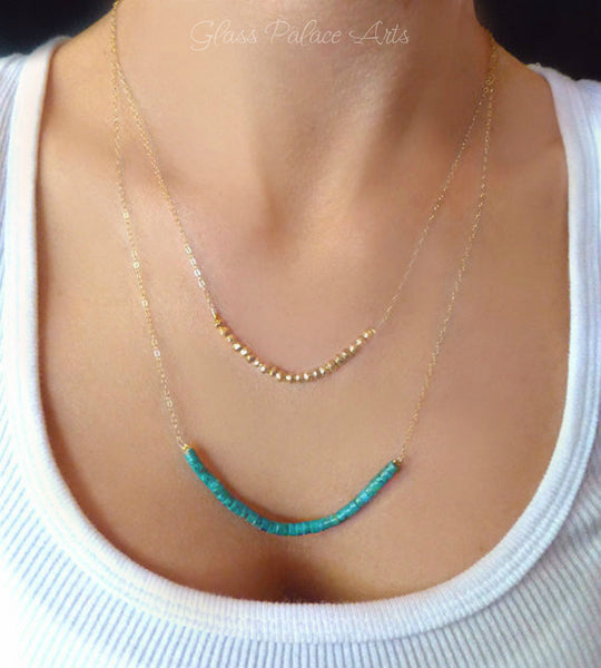 Beaded Turquoise And Pyrite Multi Strand Layered Necklace