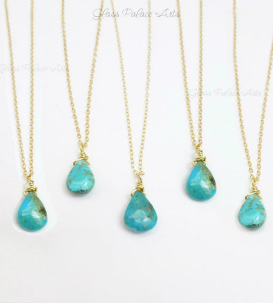Genuine Sleeping Beauty Turquoise Teardrop Necklace