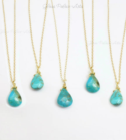 Sleeping Beauty Turquoise Necklace - Genuine Turquoise Teardrop Necklace