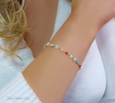 Adjustable Multi Color Peruvian Opal Bracelet For Women - Sterling Silver or Gold