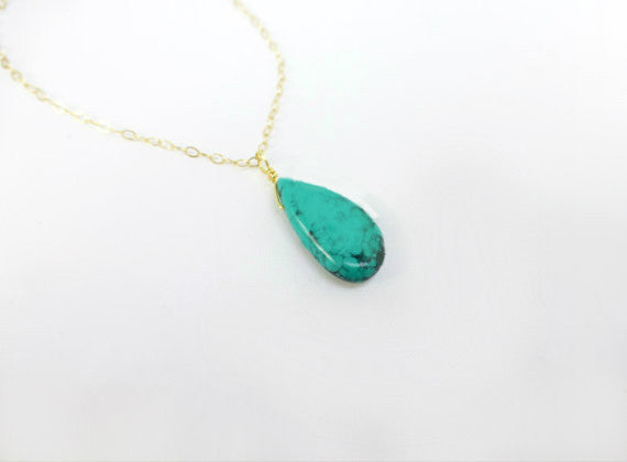 Turquoise Pendant Necklace - Genuine Turquoise Jewelry Gold