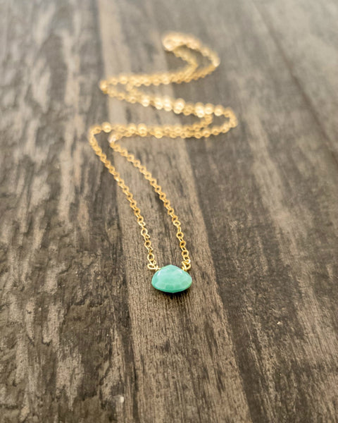 Dainty Sleeping Beauty Turquoise Necklace For Women, Sterling Silver, Gold or Rose Gold