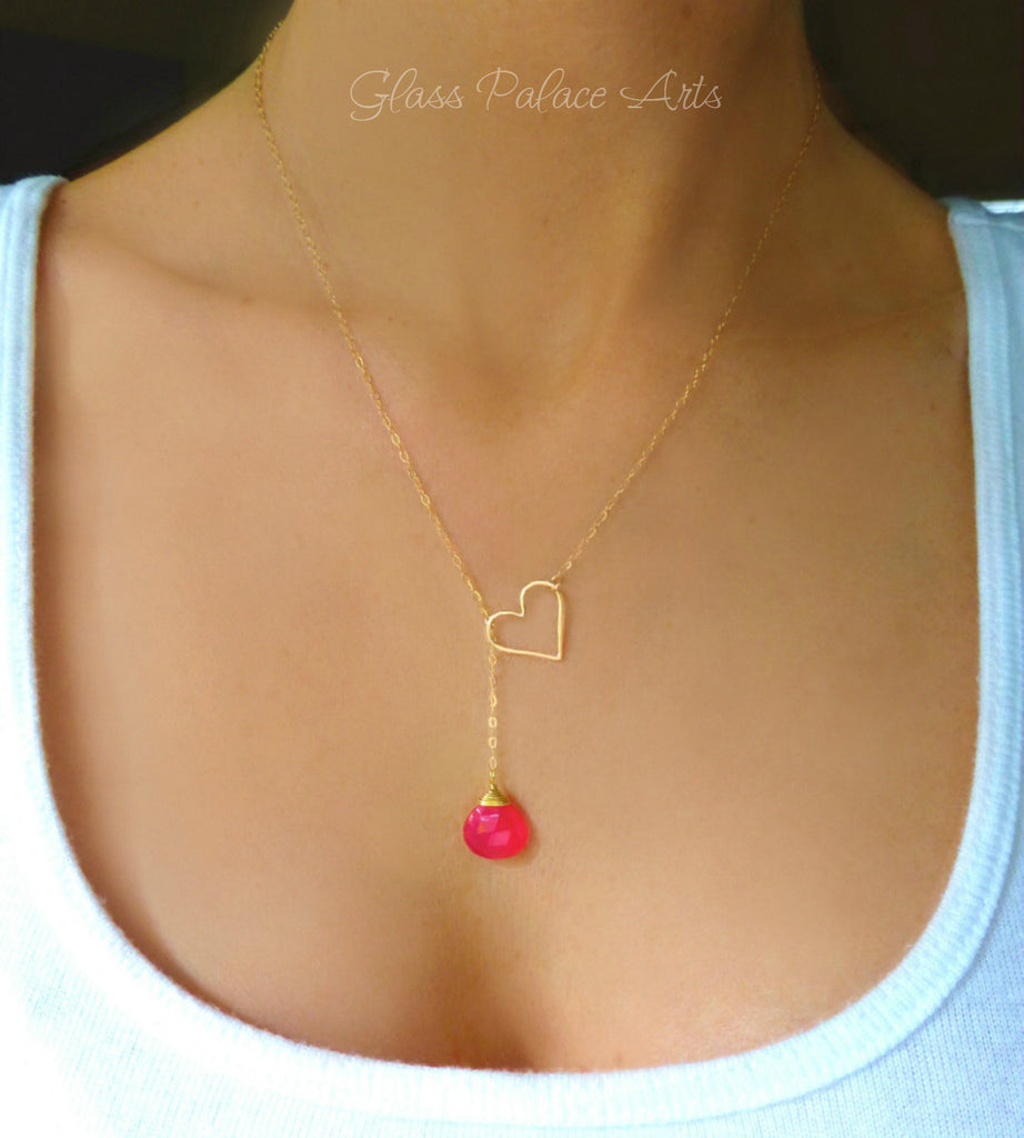 Heart Lariat Necklace - Hot Pink Gemstone Necklace With Dangling Heart