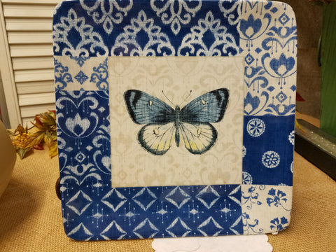 Square Blue and White Plate