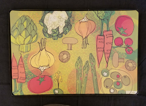 Retro Design with Vegetables -Paper Placemat -