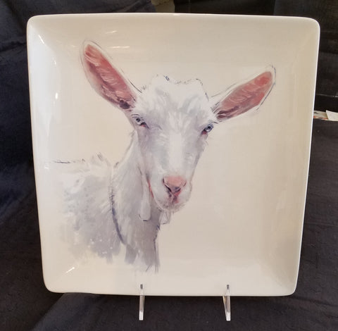 Square Plate with Goat