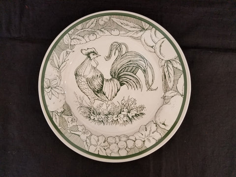 Dinner Plate with Rooster and Fruit - Green/White