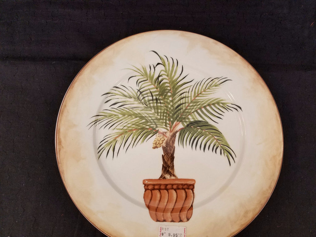 "10.5"" American Atelier Tropical Palm Dinner Plate"