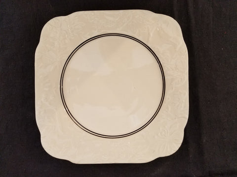 "8"" Square Cream Colored Plate with Black edge and Stripes"