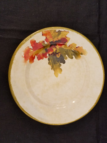 "9"" Plate with Multi-Colored Oak Leaves"