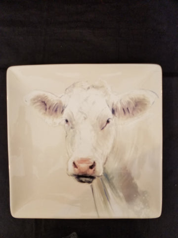 "Square 11"" Plate with Cow"