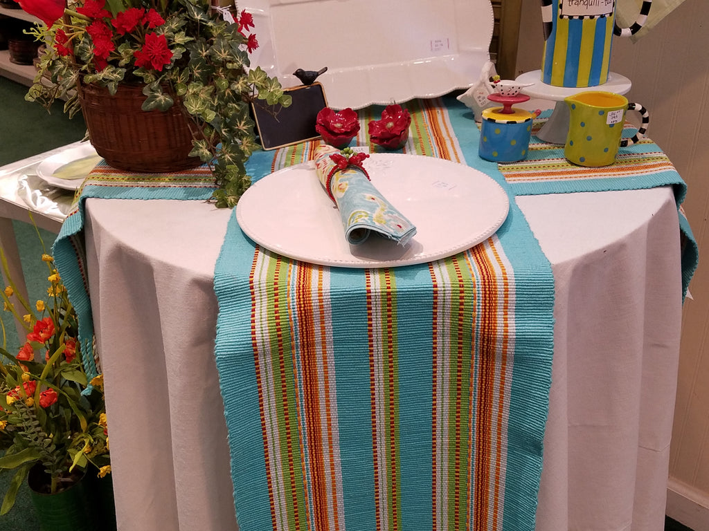 Brightly Colored Stripped Table Runner   Blue, Orange, Red, Green Yellow