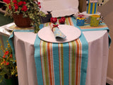 Brightly Colored Stripped Table Runner - Blue, Orange, Red, Green Yellow