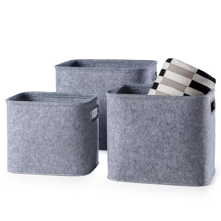 Urban Felt 3 Piece Large Storage Tote Light Grey